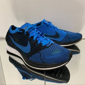 2014 Nike Flyknit Racer Black Photo Blue Mens 7.5
